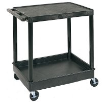 Large 2 Shelf Utility Cart: Top Flat Shelf, Bottom Tub Shelf