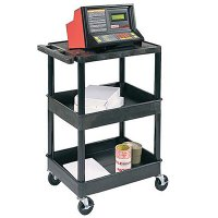 Small 3 Shelf Utility Cart: Flat Top Shelf, Middle / Bottom Tub