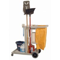 Heavy Duty Janitorial Cart: Orange Nylon Trash Bag
