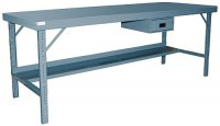 120 x 36 Folding Leg Work Bench with Steel Top: 2000 lb Capacity