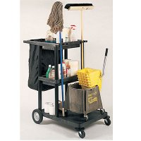 Heavy Duty Janitorial Cart: Black Nylon Trash Bag