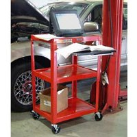3 Shelf Compact Steel Mobile Workstation With Pull-Out Drawer