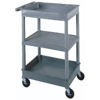 Small 3 Shelf Utility Cart: Top and Bottom Tub, Middle Flat