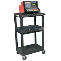 3 Shelf Service Cart: 2 Flat Shelves, Middle Storage Tray