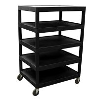 Large 5 Shelf Supply Cart - Black