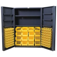 "36"" Wide Storage Cabinet: 4"" Deep Box Door: 64 Bins: 8 Shelves"