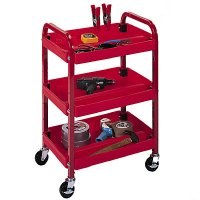 3 Shelf Compact Utility Cart with Metal Frame
