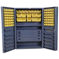 "48"" Wide Cabinet: Deep Box Door: 4 Drawers: 72 Bins: 13 Shelves"