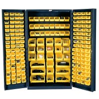 "48"" Wide Metal Storage Cabinet: 4"" Deep Box Door: 192 Bins"