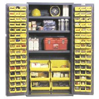 "36 x 72"" Steel Industrial Storage Cabinet: 102 Bins & 3 Shelves"