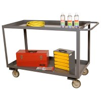 "Industrial Stock Carts: 2 Shelves: 48"" x 24"" x 35"""