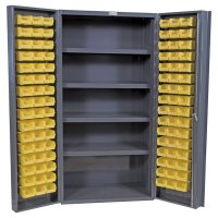 "36"" Wide Storage Cabinet: 4"" Deep Box Door: 96 Bins: 4 Shelves"