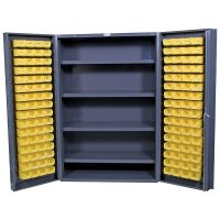 "48"" Wide Storage Cabinet: 4"" Deep Box Door: 128 Bins: 4 Shelves"