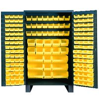 "48"" Wide Metal Storage Cabinet: Flush Door Style: 171 Bins"