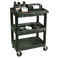 3 Shelf Service Cart: 2 Storage Trays, Flat Bottom Shelf